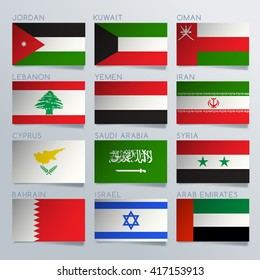Asia Flag Ribbon Set : Vector Illustration