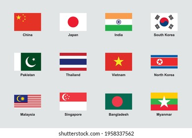 Asia Flags Official Proportions Flat Vector Set
