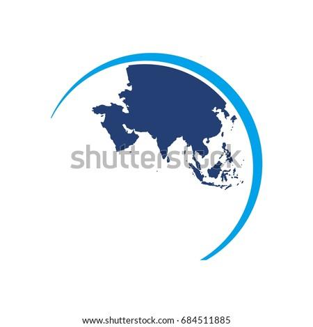 Asia globe map world map logo stock vector royalty free 684511885 asia globe map world map logo vector gumiabroncs Choice Image