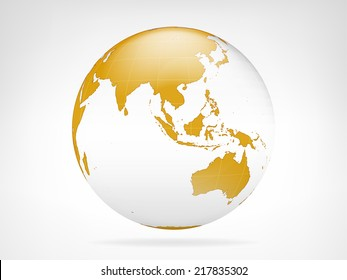 Asia golden planet backdrop view vector illustration