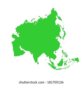 Asia green vector map silhouette isolated on white background.