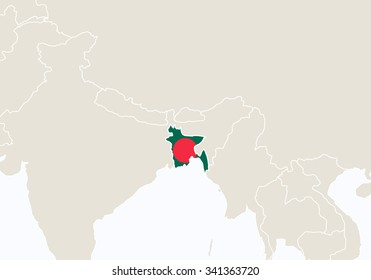 Asia with highlighted Bangladesh map. Vector Illustration.