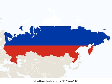 Asia with highlighted Russia map. Vector Illustration.