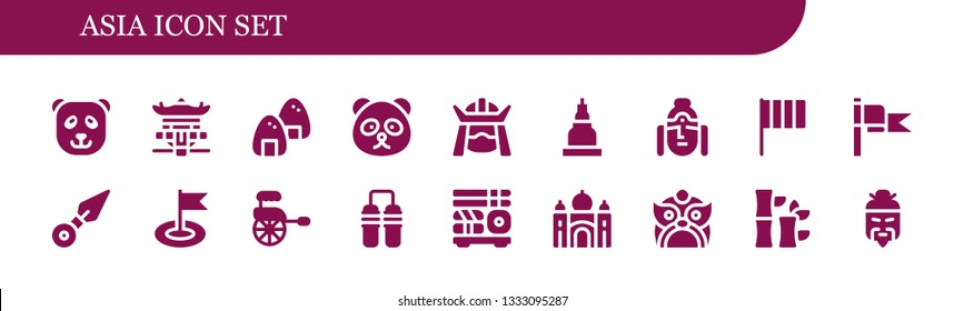 asia icon set. 18 filled asia icons.  Collection Of - Panda bear, Pagoda, Onigiri, Samurai, Temple, Buddha, Flag, Kunai, Rickshaw, Nunchaku, Sushi, Taj mahal, Dragon, Bamboo, Chinese
