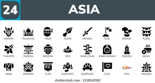 asia icon set. 24 filled asia icons.  Collection Of - Hannya, Taj mahal, Ninja, Kunai, Katana, Flag, Bonsai, Flags, Thai kite, Pagoda, Buddha, Rice, Wing chun, Arab woman icons