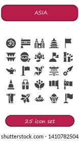 asia icon set. 25 filled asia icons.  Collection Of - Om, India, Petronas, Pagoda, Flag, Flags, Ninja, Elephant, Bamboo, Magic lamp, Origami, Kunai, Temple, Nunchaku, Blossom