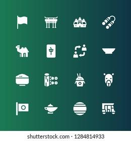 asia icon set. Collection of 16 filled asia icons included Tuk tuk, Thailand, Magic lamp, Japan, Camel, Rice, Kunai, Bowl, Alternate, Mahjong, Nunchaku, Angkor wat, Torii gate