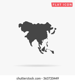 Asia Icon vector. Simple flat symbol. Perfect Black pictogram illustration on white background.