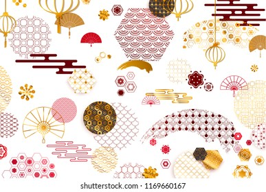 Asia Japanese and Chinese patterns, icons, crest decor vector. Ornament with Flowers, Waves, Lines, Fan, Clouds... Gold texture, drawn vector illustration.