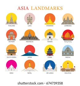 Asia Landmarks Architecture Building Icons Set, Famous Place, Travel and Tourist Attraction