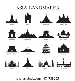 Asia Landmarks Architecture Building Silhouette Set, Famous Place, Travel and Tourist Attraction