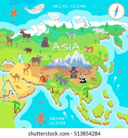 Asia mainland cartoon map with fauna species. Cute asian animals flat vector. Northern predators. Mountain species. Jungle wildlife. Indian ocean life. Nature concept for children's book illustrating