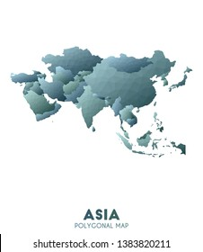 Asia Map. actual low poly style continent map. Cute vector illustration.