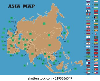 Asia Map Asian Countries Flags Names Stock Vector (Royalty Free ...