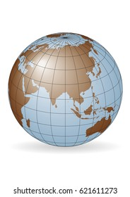 Asia map.  Australia, Russia, Africa, North pole. Elements of this image furnished by NASA