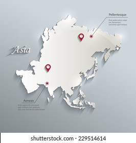 Asia map blue white card paper 3D vector infographics