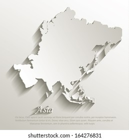 Asia map card paper 3D natural vector
