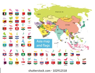 Asia map  and countries with flag