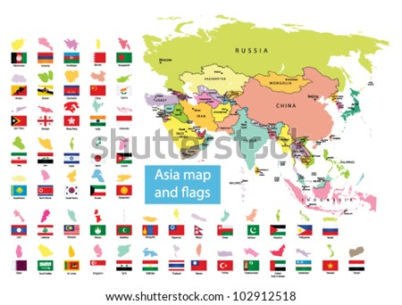 Asia Map Countries Flag Stock Vector Royalty Free 102912518