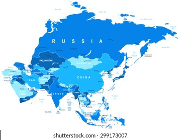 Asia map - highly detailed vector illustration