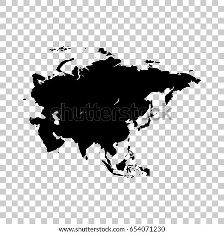 Asia Map Isolated On Transparent Background Stock Vector (Royalty