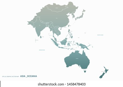 asia map. oceania map. high quality vector countries map of South pacific and asia. asia countries