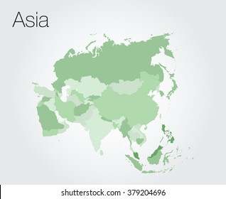 Asia map on vector background