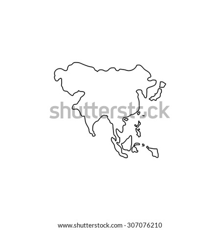 Asia Map Outline Black Simple Vector Stock Vector (Royalty Free ...