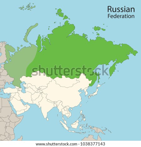 Asia Map Russian Federation Russia Stock Vector Royalty Free