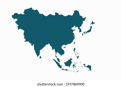 asia map vector. blue color on white background.