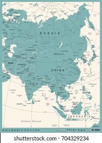 Asia Map - Vintage Detailed Vector Illustration