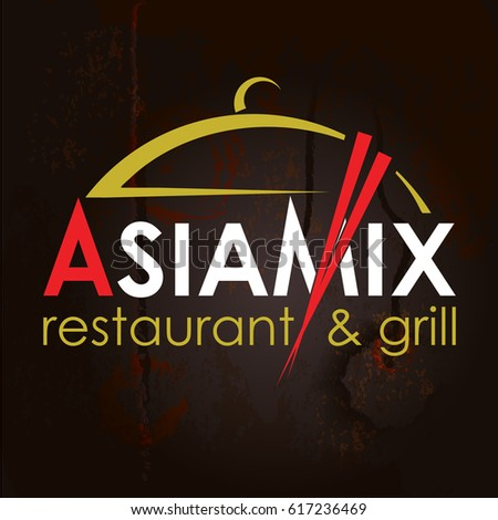 Asia Mix. Abstract Creative concept vector Logo for Asian restaurant. Design for restaurants and cafes. Business logo. Imitation of a wooden structure. Vector Illustration