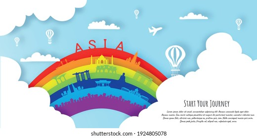 Asia in paper cut style with rainbow. Landmarks of Asia Vectors Illustration