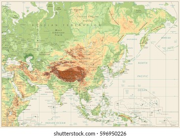 Asia Physical Map Retro White with Rivers, Lakes and Elevations.