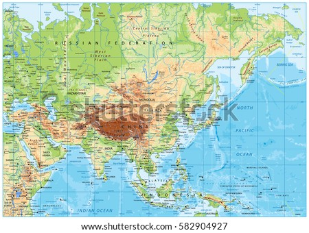 Asia Physical Map Rivers Lakes Elevations Stock Vector (Royalty Free ...