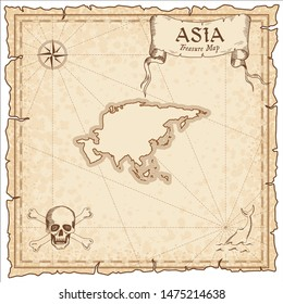 Asia pirate map. Ancient style map template. Old continent borders. Vector illustration.
