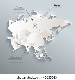 Asia political map 3D vector individual states separate