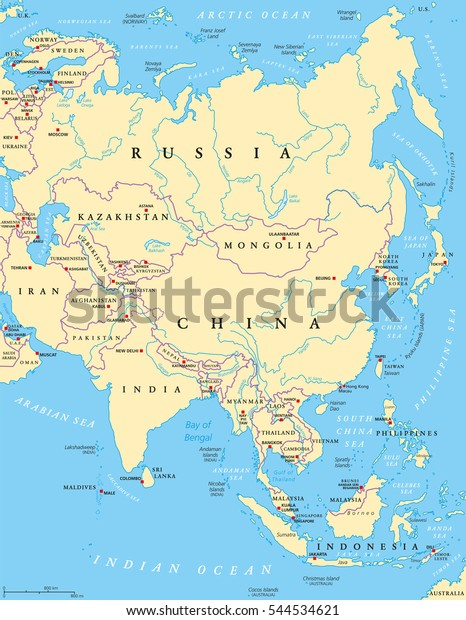 Map Of Asia Political With Capitals.Asia Political Map Capitals National Borders Stock Vector Royalty