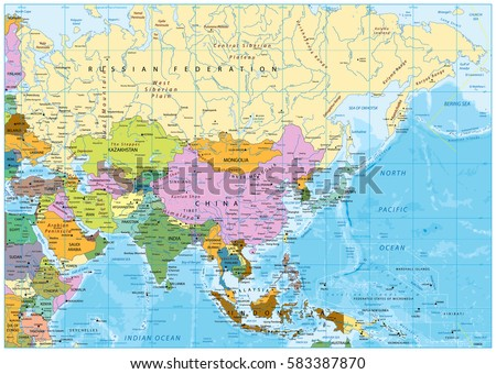 Asia Map With Rivers.Asia Political Map Rivers Lakes Elevations Stock Vector Royalty
