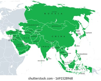 Asia, political map, states and countries of the largest continent. With the Asian part of Russia and Turkey and the Sinai Peninsula as African part. English labeling. Illustration over white. Vector.