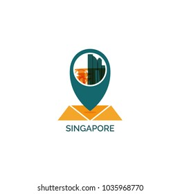 Asia Singapore country map city pin point geolocation modern skyline shape pointer vector flat logo web icon illustration