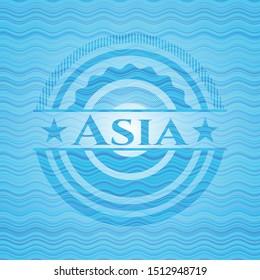 Asia sky blue water emblem background. Vector Illustration. Detailed.