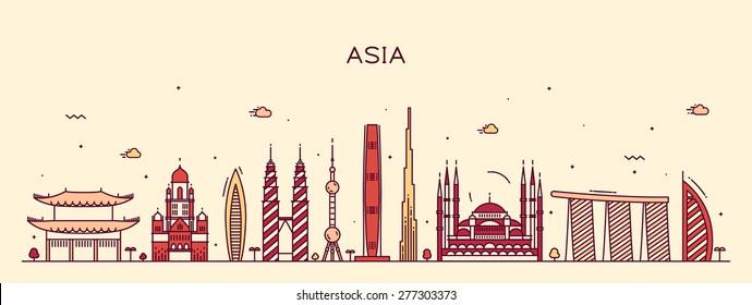 Asia skyline detailed silhouette. Trendy vector illustration, line art style.
