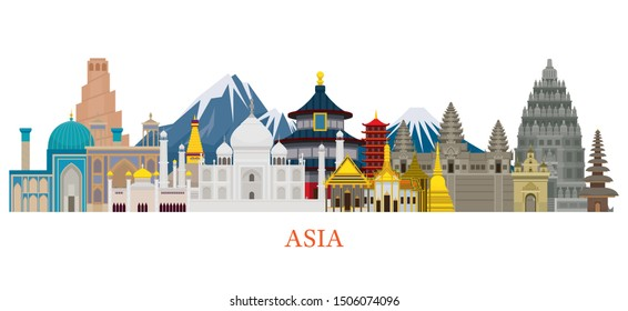 Asia Skyline Landmarks in Flat Style, Famous Place and Historical Buildings, Travel and Tourist Attraction