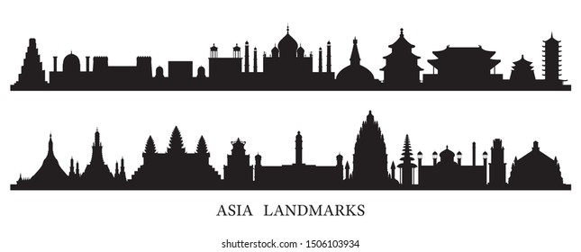 Asia Skyline Landmarks Silhouette, Famous Place and Historical Buildings, Travel and Tourist Attraction