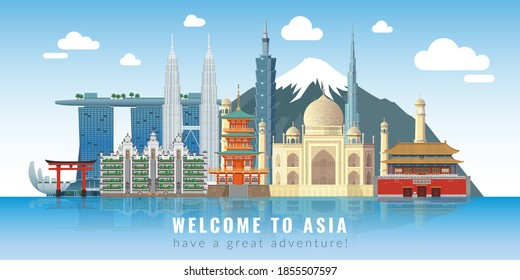 Asia skyline. Travel landmarks panoramic poster with text, historical cultural buildings and constructions, attractions and skyscrapers set, water reflect city, tourist excursions places vector banner