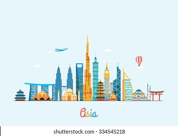 Asia skyline. Travel and tourism background. Vector flat illustration