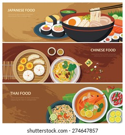 asia street food web banner , thai food , japanese food , chinese food flat design