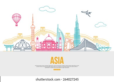 Asia travel background with place for text. Skyline detailed silhouettes. Vector illustration.
