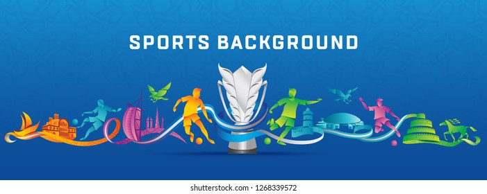 asian 2019 Abstract Sports Background with trophy Colorful with eagle and player icons vector illustration